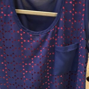 Francesca's Collections Tops - Francesca's pink and blue eyelet blouse